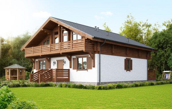 Комбинированный дом кирпич+клееный брус КД-318