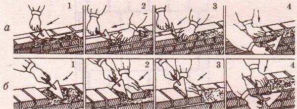 На схеме показаны принципы установки кирпича вприжим ложковой и тычковой укладкой