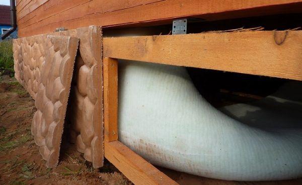 Отделка фундамента деревянного дома цокольными панелями