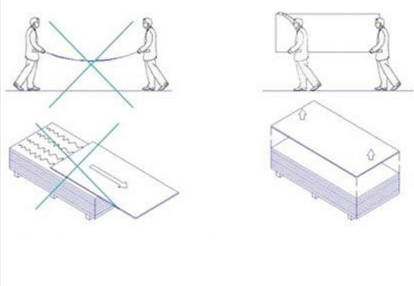 Правила переноски фиброцементных панелей