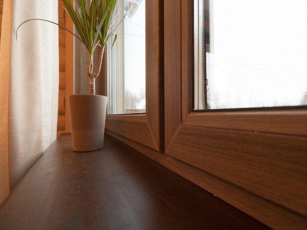 Пример ламинированных окон под древесину