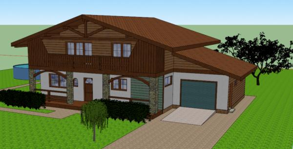 Проект дома в стиле шале - вариант фасада