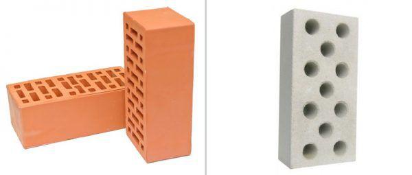 Пустотелые керамический и силикатный кирпичи
