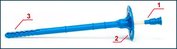 Распорная часть (головка, шляпка) — 1; фиксатор — 2; анкер — 3