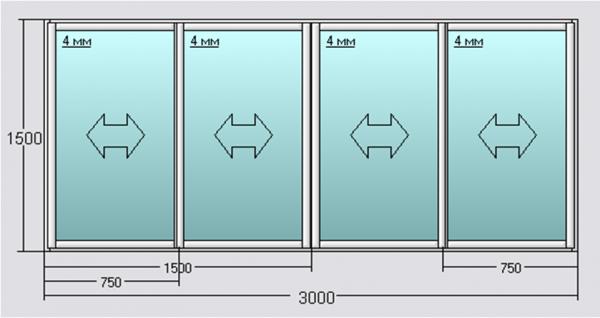 Размеры раздвижной алюминиевой рамы остекления для типовой лоджии панельного дома