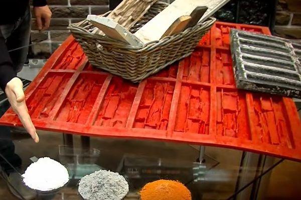 Силиконовая форма для отливки искусственного камня на цементной основе и компоненты, добавляемые в него при изготовлении