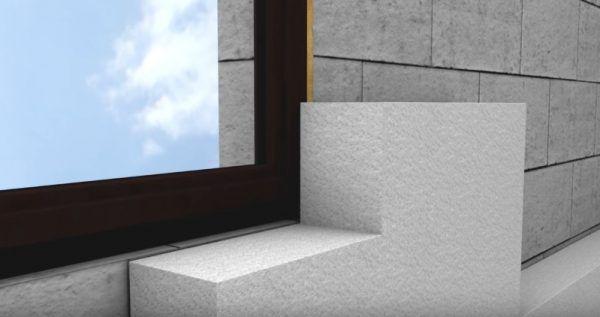 Схема установки оконного блока с прилеганием к слою утеплителя