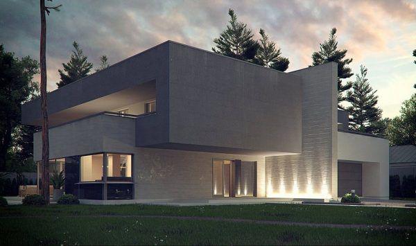 Современный дом в стиле модерн с сауной на втором этаже