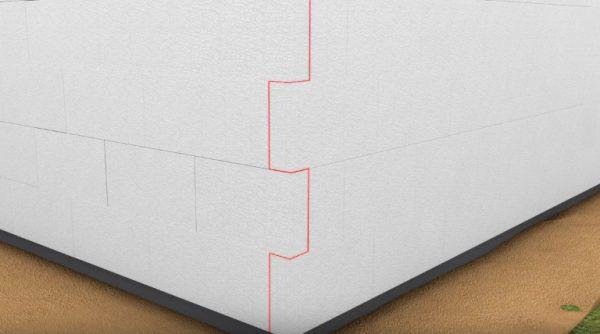 Установка блоков пенопласта на втором ряду угла – стороны меняются