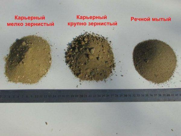 Некоторые разновидности песка