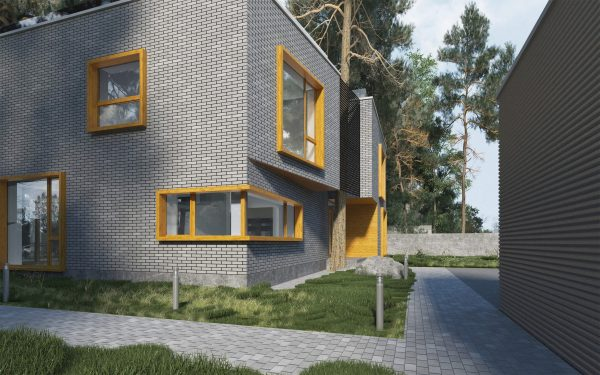 Фасад дома в современном стиле из серого силикатного кирпича