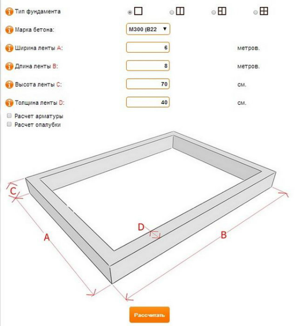 расчет ленточного фундамента онлайн калькулятор с ценой