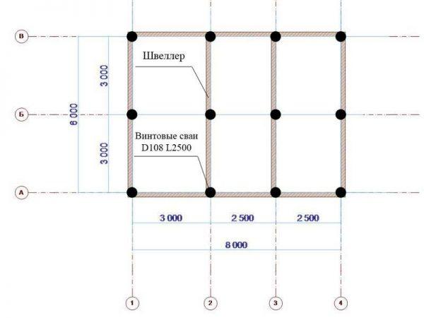 Схема основания для расчёта материалов