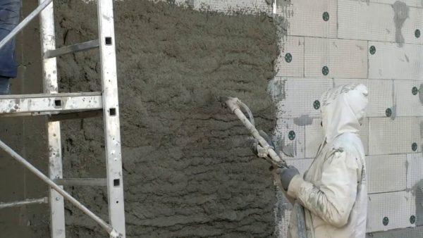 Механизированное оштукатуривание фасада