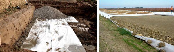 Песок укладывают на геотекстиль