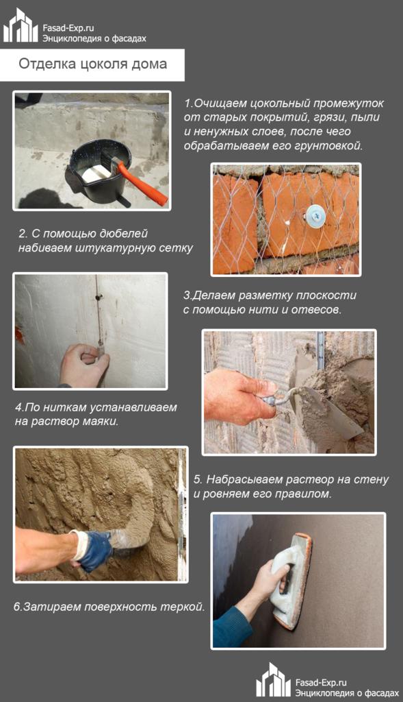 Как поштукатурить цоколь вокруг дома своими руками 73