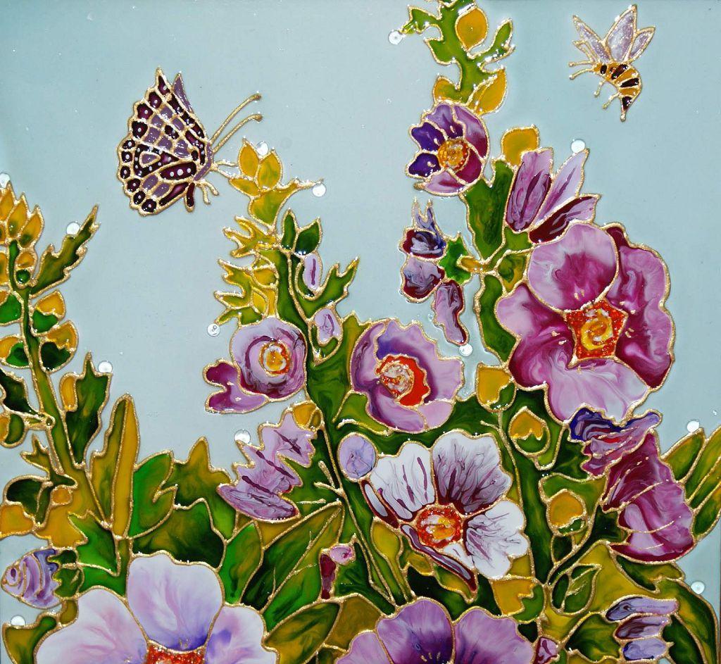 Витраж «Цветы», выполненный витражными красками