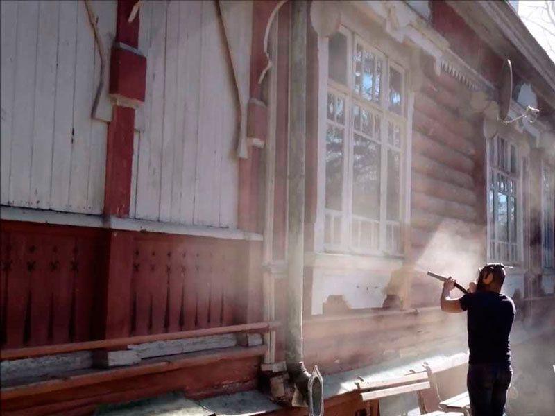 Очистка деревянного фасада