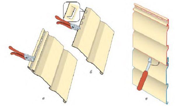 Специальные инструменты: а — расширение существующих отверстий перфоратором; б — пробивка зацепов на отрезанном куске сайдинга; в — демонтаж (монтаж) сайдинга крючком