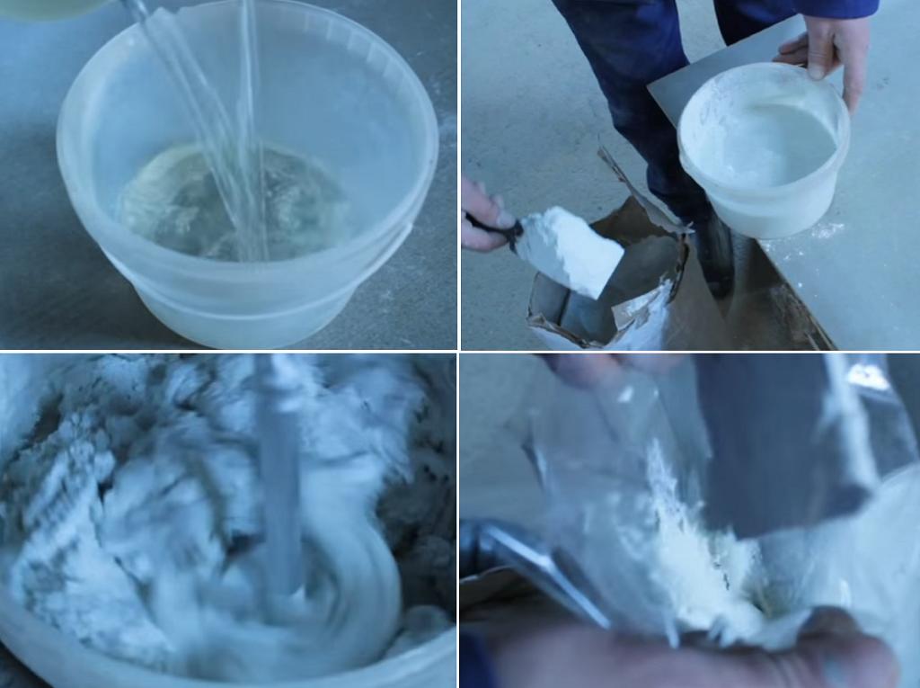 Готовим и выкладываем в кондитерский мешок затирочную смесь