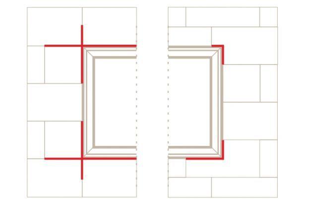 Пенопласт вокруг окна, справа правильно