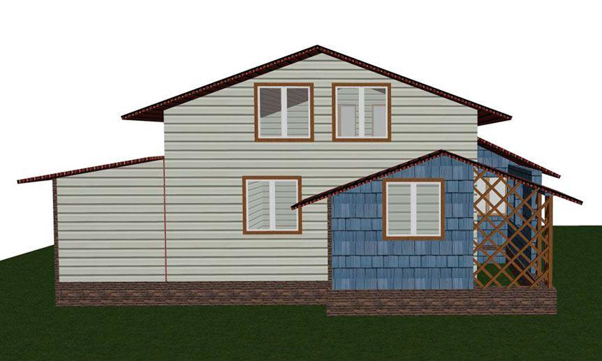 Эскиз проекта фасада дома для монтажа сайдинга
