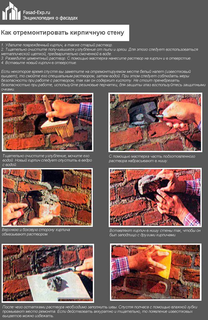 Как отремонтировать кирпичную стену