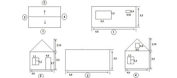 Пример эскиза фасада здания, позволяющий точно рассчитать необходимый объем сайдинга и доборных материалов