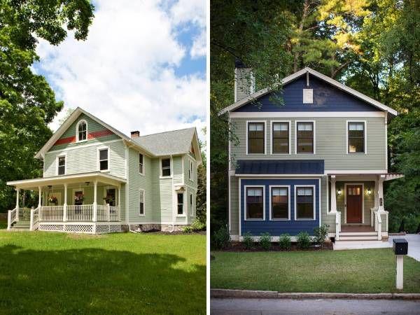 Фасад частного дома зеленого цвета и оттенка шалфей, использованы водостойкие краски для наружных работ