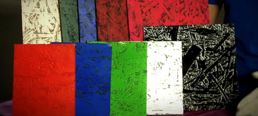 Окрашенные в разные оттенки образцы. Можно выбрать желаемый цвет для фасада