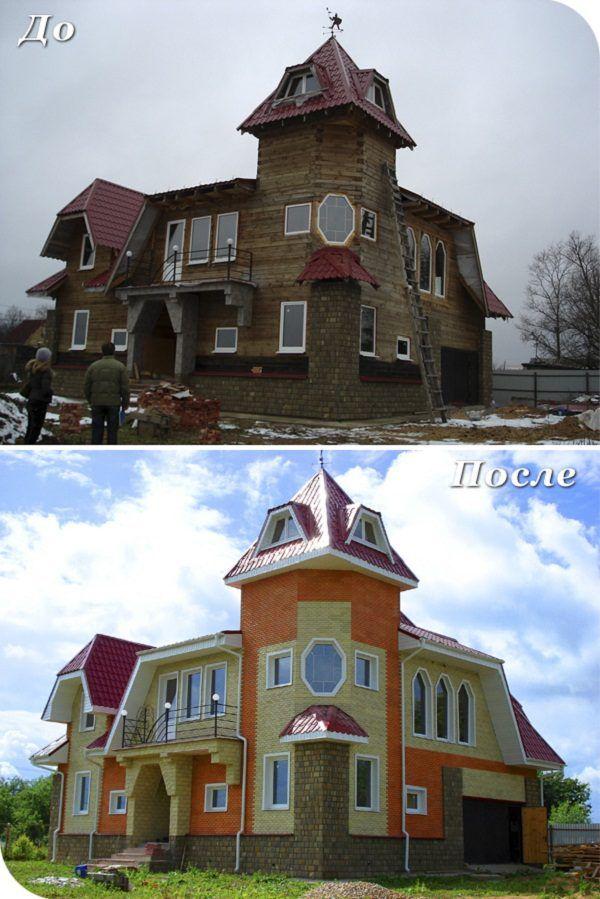 Результат облицовки здания - до и после