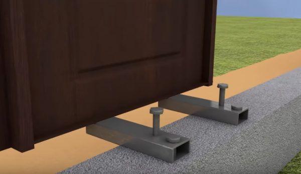 Так как дверь при креплении на одном уровне с утеплителем сильно выдается вперед, то в качестве опоры для нее выступает не цоколь, а два хорошо зафиксированных швеллера