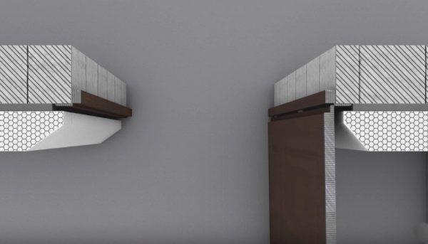 Установка двери на одном уровне с основной стеной. Сам процесс монтажа рамы и полотна происходит как обычно, но утеплитель в проеме необходимо подпиливать. В противном случае дверь при открытии постоянно будет тереться об него, царапаться и портить сам утеплитель