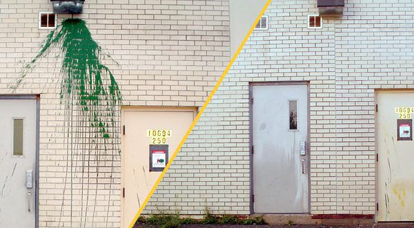 Фасад до и после очистки