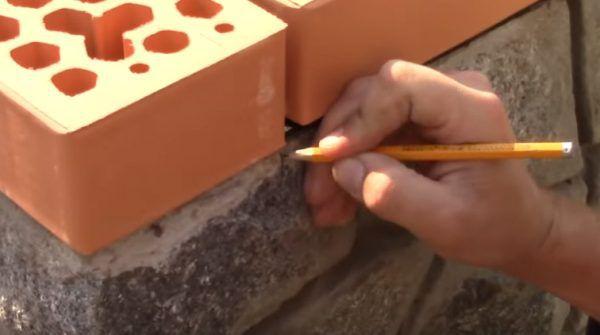 Нанесение отметки карандашом