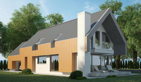 Проект одноквартирного одноэтажного дома с жилой мансардой в стиле модерн