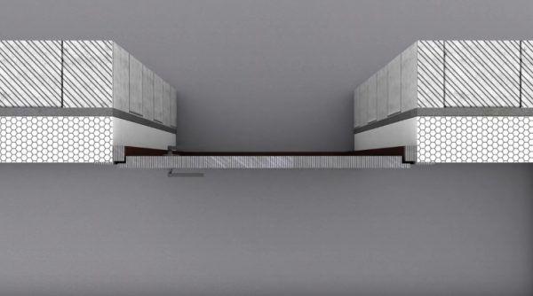 Установка двери на одном уровне с внешней стороной слоя утеплителя, вид сверху