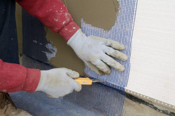 Установка фасадной армирующей сетки