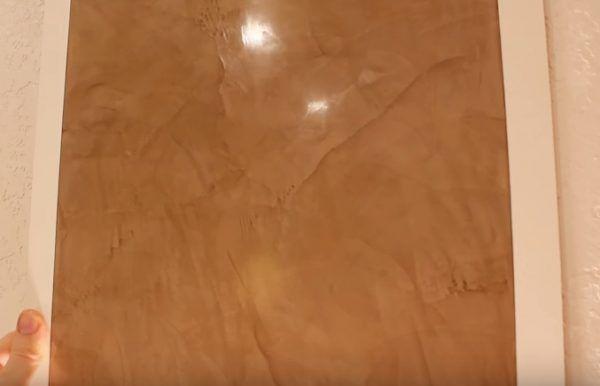 Полностью готовое покрытие на холсте для тренировки – однотонная венецианская штукатурка, нанесенная по классической технике